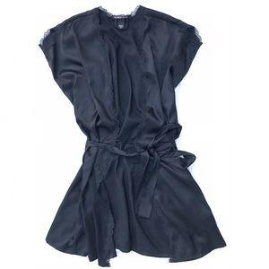 Victorias Secret Lace Trim Satin Short Sleeve Robe